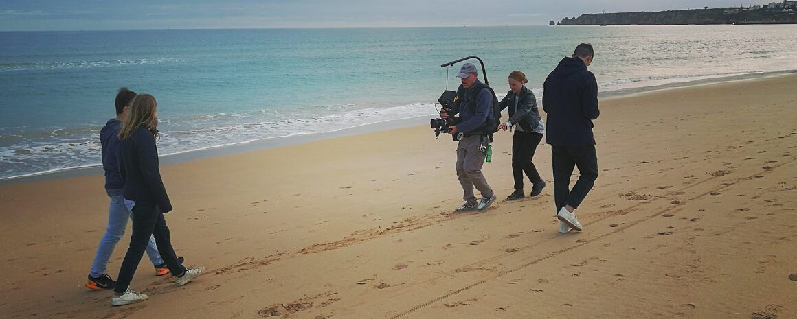 Film Algarve production in winter with cameraman, pull focus assistant, Mavo camera and easyrig